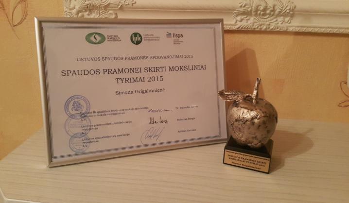 VGTU doktorantei – Lietuvos spaustuvininkų asociacijos prizas